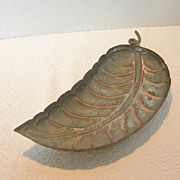 REDUCED Vintage Leaf Shaped Copper Footed Bowl