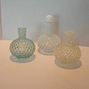 REDUCED Set of 3 Vintage Hobnail Barber Jars