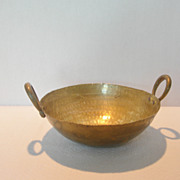 SOLD Vintage Hammered Brass Bowl with Handles
