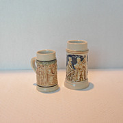 REDUCED Two Vintage Miniature Steins