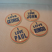 SOLD Original Beatles Pin-back Buttons Set of Four