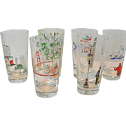 Vintage Hand-Painted Drinking Glasses Featuring San Francisco Attractions