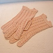 REDUCED Vintage French Hand Crochet Wrist Gloves