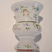 REDUCED Vintage Czechoslovakian Handpainted Glass Vase