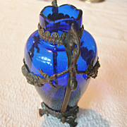 SOLD Metal Clad Cobalt Blue Vase