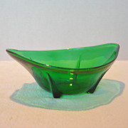 REDUCED Vintage Dark Green Footed Glass Bowl