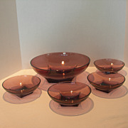 SOLD Hazel Atlas Moroccan Amethyst Salad Bowl Set