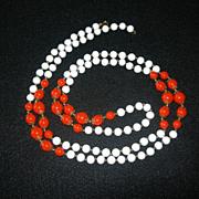 REDUCED Long White & Orange Beaded Necklace