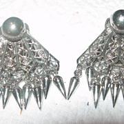Silver Toned Filagree Fan Earrings