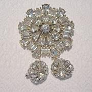 REDUCED Vintage Diamante Brooch & Trifari Clip Earrings Set