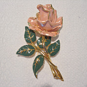 REDUCED Vintage 4 inch Enamel Rose Brooch