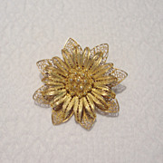 SALE Art Nouveau Filagree Gold Tone Brooch