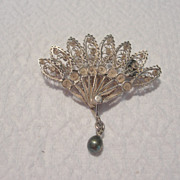 REDUCED Early to Mid Victorian Filagree Fan Brooch