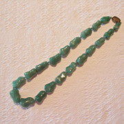 REDUCED Vintage Jade Nephrite and Silver Necklace