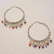 REDUCED Vintage Silver Toned Hoop Earrings
