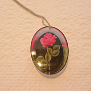 REDUCED 1950's Lucite Reverse Painted Pink Roses Pendant & Earrings Set