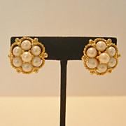 SALE Vintage Kramer Faux Pearl Clip Earrings