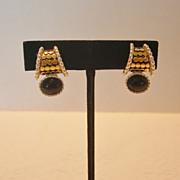 SALE Two Tone Metal & Black Stone Premier Design Clip Earrings
