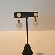 SALE Vintage Monet White Plastic Dangle Clip Earrings