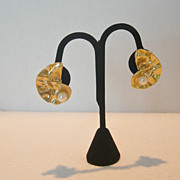 REDUCED Vintage Gold Tone Lily Pad Clip  Earrings