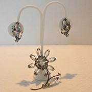 REDUCED Vintage Japanned Flower Brooch and Earring Set