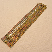 REDUCED Vintage Mexican Sterling Silver Tri-Colored Chain Mail Bracelet