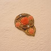 REDUCED Vintage Faux Coral Rose Fur/Dress Clip