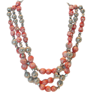 REDUCED Vintage Hobe' 3 Strand Glass & Metal Bead Necklace