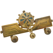 Gold-Tone Art Deco Bar Pin