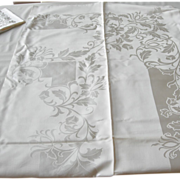 REDUCED Vintage Damask Reversable Tablecloth with Matching Napkins