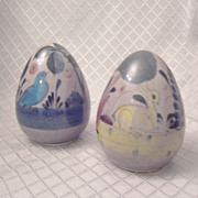 REDUCED Pair of Mexican Folk Art Ceramic Eggs