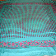 REDUCED Vintage Turquoise and Pink Paisley Print Silk Scarf