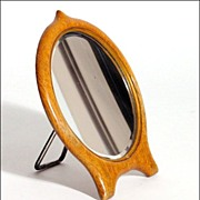 Unusual Oak Framed Magnifying Vanity Mirror - Early 20th C