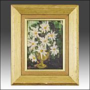 SALE Mid Century Still Life of Flowers - J. Dougherty - Oil - 'Mad Men' Era