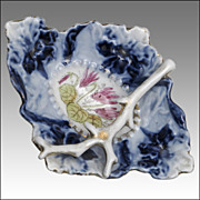 SOLD Flow Blue Pin Dish with Gilded Branch and Cyclamen Decoration
