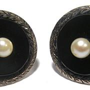 Vintage Pair of Fine CUFFLINKS STERLING SILVER Black Onyx & Cultured Pearl