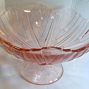 "Vintage Art Deco PINK Depression Glass SUNKIST FRUIT BOWL 12"" Diameter 7"" Tall"