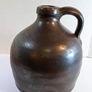 "Antique c. 1900 Stoneware WHISKEY / CIDER JUG Small 6"" Size Brown Glaze"