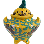 Vintage Chinese INCENSE BURNER Yellow And Turquoise With PEKINGESE DOG Finial