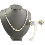 SALE AB Crystal Necklace and earrings on chain with sterling silver clasp