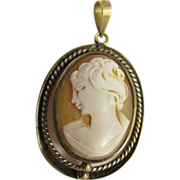 Beautiful Carved Shell Cameo with gold and silver frame