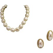 SOLD Vintage Givenchy Faux Pearl Hand Knotted Necklace with Earrings