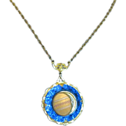 SALE Gold filled Locket set in Deep Aqua Blue crystal