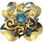 SALE Pretty Gold-tone 4 leaf clover shape brooch/pendent with blue rhinestones
