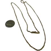 """SALE 14K Gold Necklace 20"""" Vintage Rope Chain"""