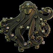 SALE J.J Flowing hair Girl with AB rhinestones brooch