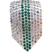 Art Deco celluloid dress clip set with green and clear rhinestones Marked CITY