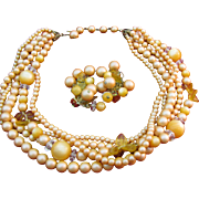 LAST CHANCE   Vintage 5 strand Necklace with earrings in a peachy Orange color