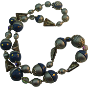 Vintage beaded Necklace with funky dotted beads