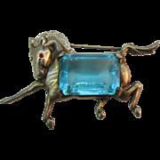 SALE Sterling Horse Brooch large aqua blue rhinestone belly